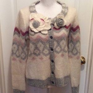 Sleeping on Snow Sweater L Ivory Gray Maroon